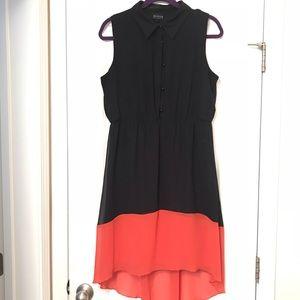 Dresses & Skirts - High Low sheer Navy Blue and Orange Dress